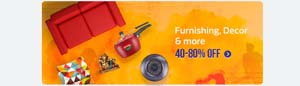 80% off on Furnishing, Decor & more